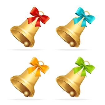 Conjunto de sino de natal. um símbolo tradicional do natal.