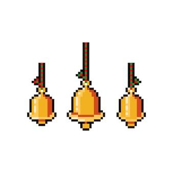 Conjunto de sino de ouro pixel art