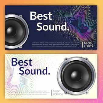 Conjunto de sistema de áudio realista de banners horizontais