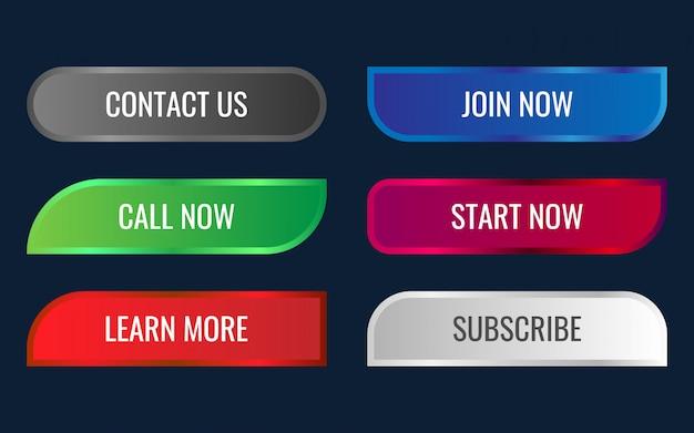 Conjunto de site moderno e profissional e ux ui entre em contato conosco botões com efeito gradiente brilhante 3d