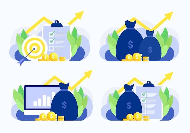 Conjunto de situação de negócios. plano de negócios, alvo, dinheiro, gráfico, investimento, relatório, crescimento financeiro. estilo moderno simples.