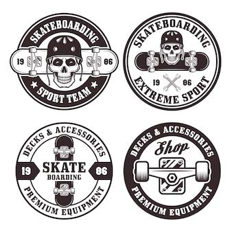 Conjunto de skate com quatro emblemas pretos redondos