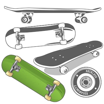 Conjunto de skates de diferentes ângulos e roda detalhada do skate.