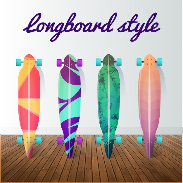 Conjunto de skates de longboard