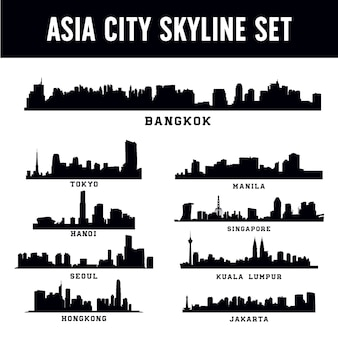 Conjunto de skyline de cidade de ásia