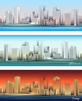 Conjunto de skylines da cidade em fundos de manhã, tarde e noite sem emenda.