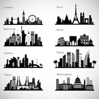 Conjunto de skylines da cidade.