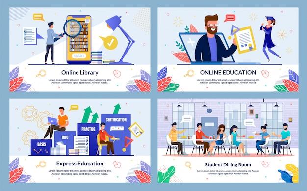 Conjunto de slides de educação expressa plana