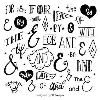 Conjunto de slogan de casamento mão desenhada