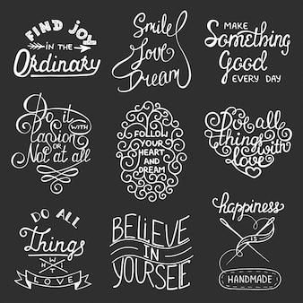 Conjunto de slogans de tipografia inspiradora vector