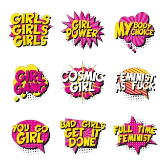 Conjunto de slogans feministas em estilo retrô pop art