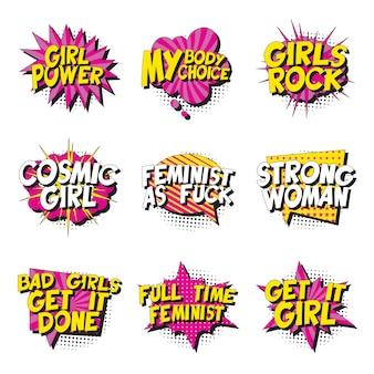 Conjunto de slogans feministas no estilo retrô pop art no balão em quadrinhos em branco isolado