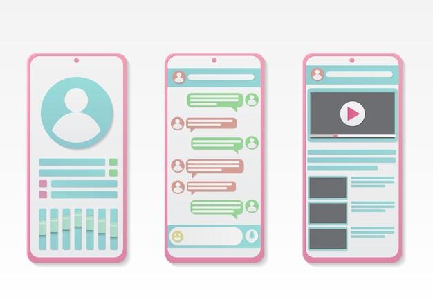 Conjunto de smartphone com interface de chat e mídia social