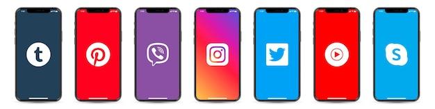 Conjunto de smartphone com logotipos de redes sociais