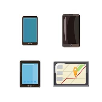 Conjunto de smartphone. conjunto de desenhos animados de smartphone