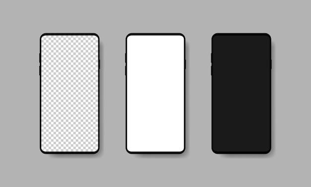 Conjunto de smartphone realista em branco com tela transparente branca e preta em fundo cinza. ilustração vetorial eps 10