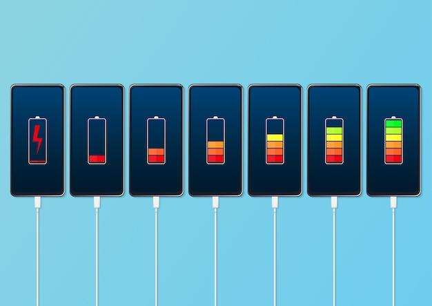 Conjunto de smartphones com indicadores de nível de carga da bateria e conexão usb