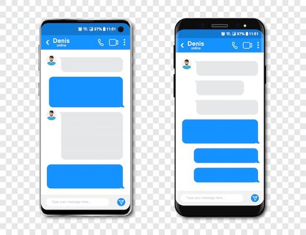 Conjunto de smartphones com o messenger chat em branco. modelo com bolhas de mensagem no smartphone