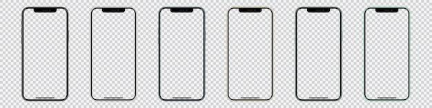 Conjunto de smartphones com tela em branco