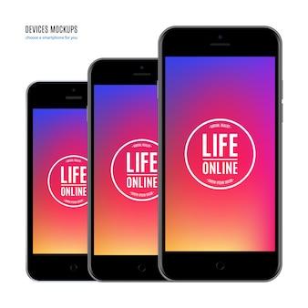 Conjunto de smartphones de cor preta com maquete de proteção de tela colorida isolada de telefone celular realista