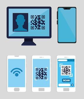 Conjunto de smartphones e computador com código qr design ilustração