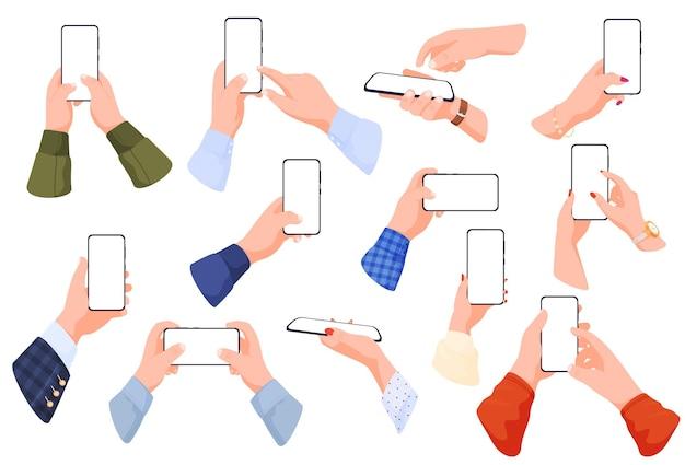 Conjunto de smartphones em posições diferentes de mãos masculinas e femininas segurando telefones