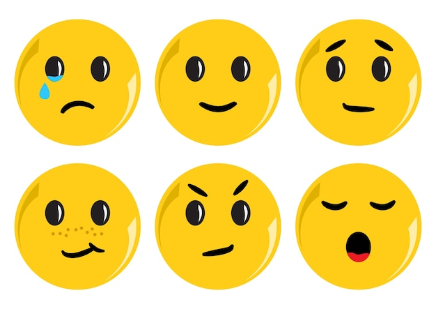 Conjunto de smileys amarelos com emoções diferentes. ilustração
