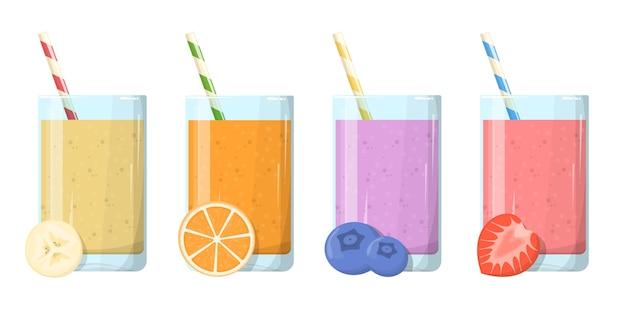 Conjunto de smoothie. coleção de saborosa bebida saudável em copo