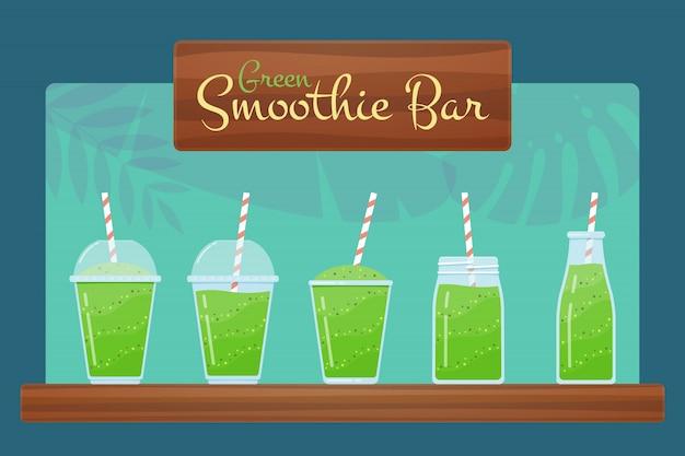 Conjunto de smoothie de dieta desintoxicação natural verde
