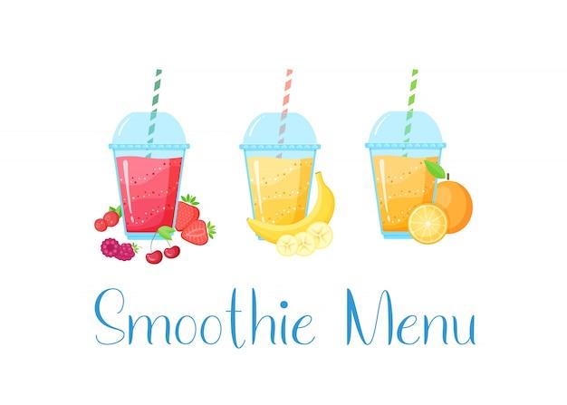 Conjunto de smoothies de frutas naturais coloridas