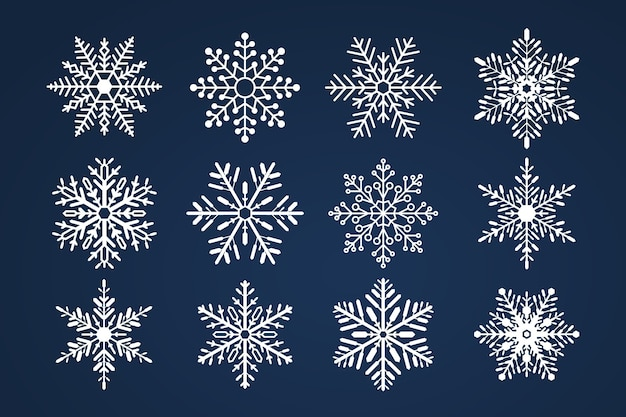 Conjunto de snoflakes. feliz natal e feliz ano novo tema.