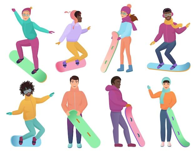Conjunto de snowboarders de cor gradiente. homem e mulher em pranchas de snowboard. atividade esportiva de snowboard de inverno