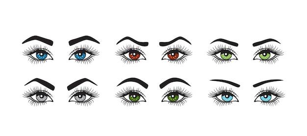 Conjunto de sobrancelhas com formas de olhos coloridos.