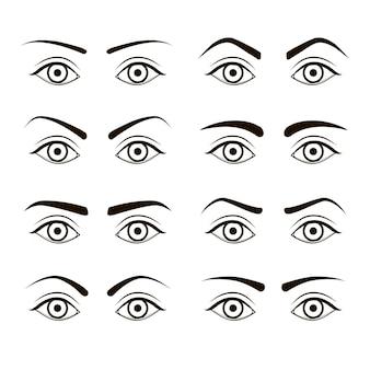 Conjunto de sobrancelhas pretas femininas de tipos diferentes