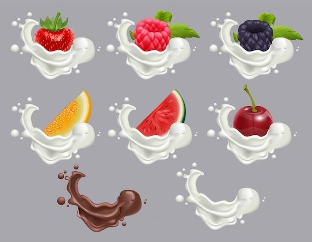 Conjunto de sobremesa de frutos maduros e creme. morango, framboesa, cereja, melancia, leite de melão e chocolate