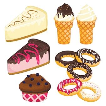 Conjunto de sobremesa doce. bolo, sorvete, rosquinha, cupcake