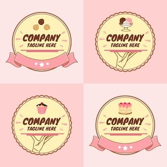 Conjunto de sobremesa fofa ou bolinho e modelo de logotipo de padaria em fundo rosa