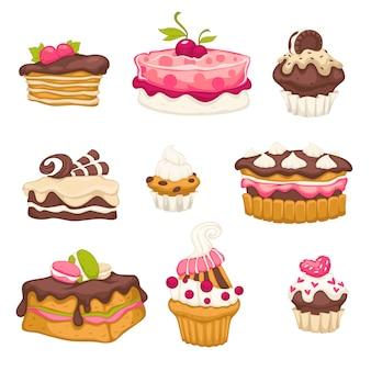 Conjunto de sobremesas com topcakes de cereja e chocolate