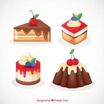 Conjunto de sobremesas doces com creme e frutas