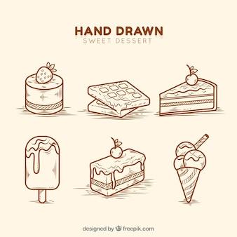 Conjunto de sobremesas doces em estilo desenhado a mão
