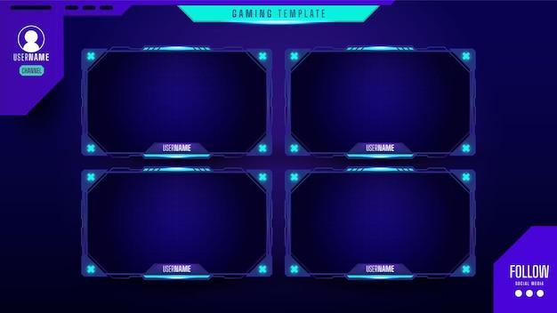 Conjunto de sobreposição de painel de streamer de jogos