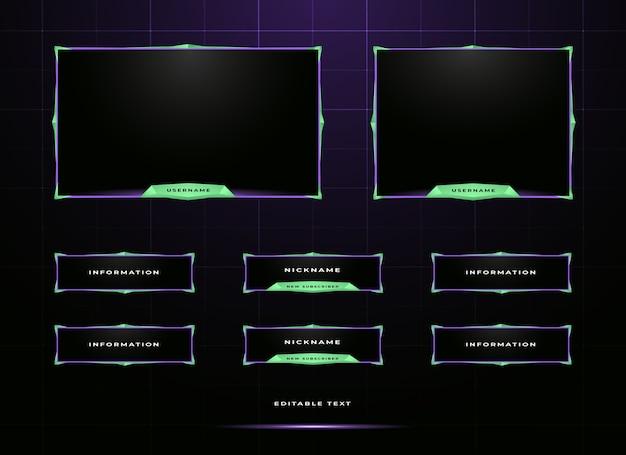 Conjunto de sobreposição de painel twitch streamer