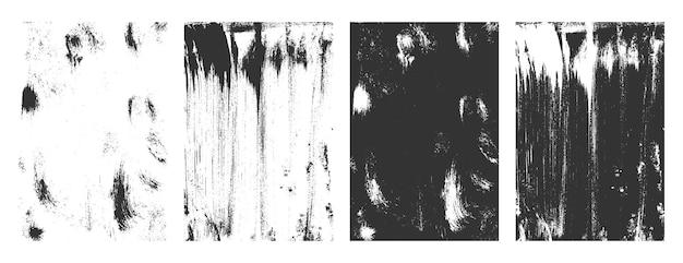 Conjunto de sobreposições de textura grunge abstrata de quatro