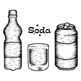 Conjunto de soda desenhada à mão