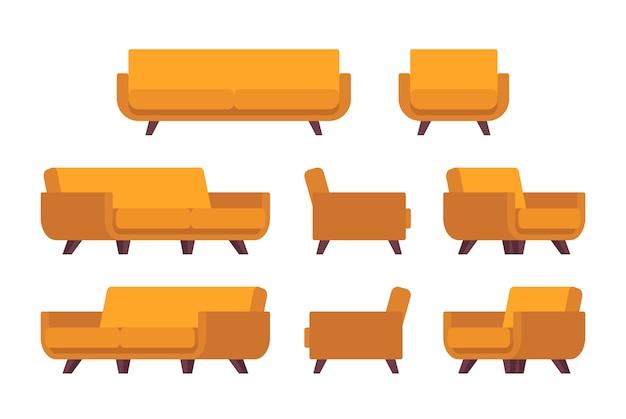 Conjunto de sofá amarelo retrô e poltrona
