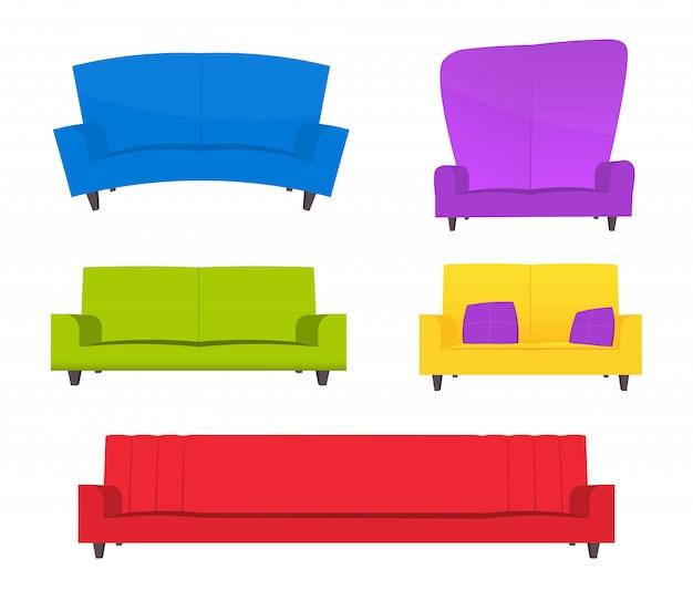 Conjunto de sofá engraçado dos desenhos animados.