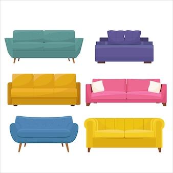 Conjunto de sofá macio colorido. ilustração em estilo simples, isolado no fundo branco