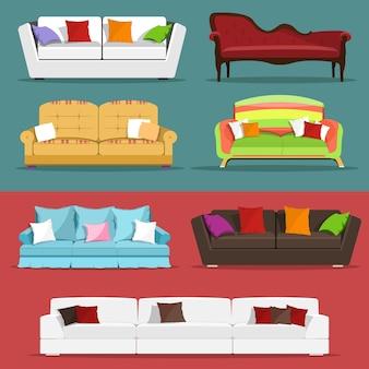 Conjunto de sofás coloridos modernos.