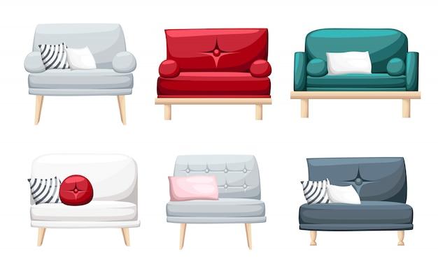 Conjunto de sofás com almofadas em fundo branco