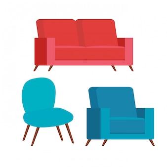 Conjunto de sofás e cadeira confortáveis